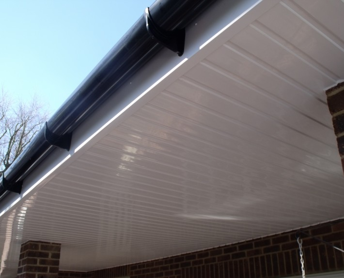 Black PVC Guttering and White Cladding to Porch Ceiling