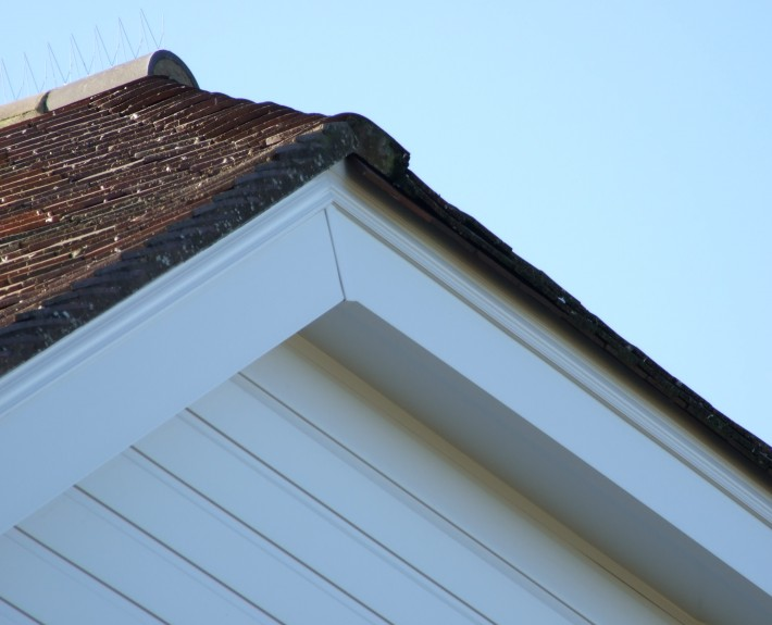 Close-up of white UPVC Cladding and Barge-Boards
