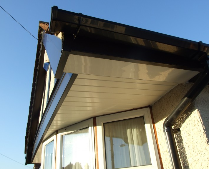 Black UPVC Mock Tudor Barge-Board, Guttering and UPVC Cladding as a Soffit