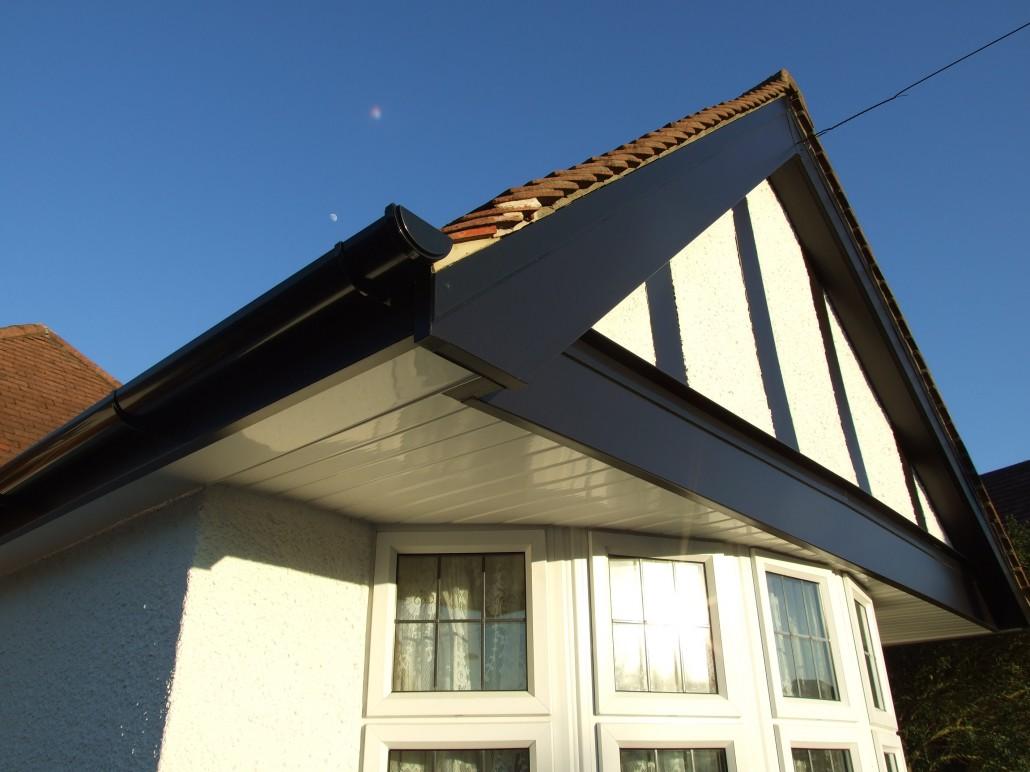 Installation Of Black Mock Tudor Upvc Fascias Soffits