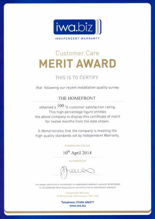Independent Warranty Association Certificate of Merit 2014