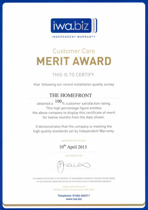 Independent Warranty Association Certificate of Merit 2015
