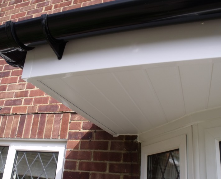 Cantilever Bay Window Guttering, Fascias and Soffits Close-up
