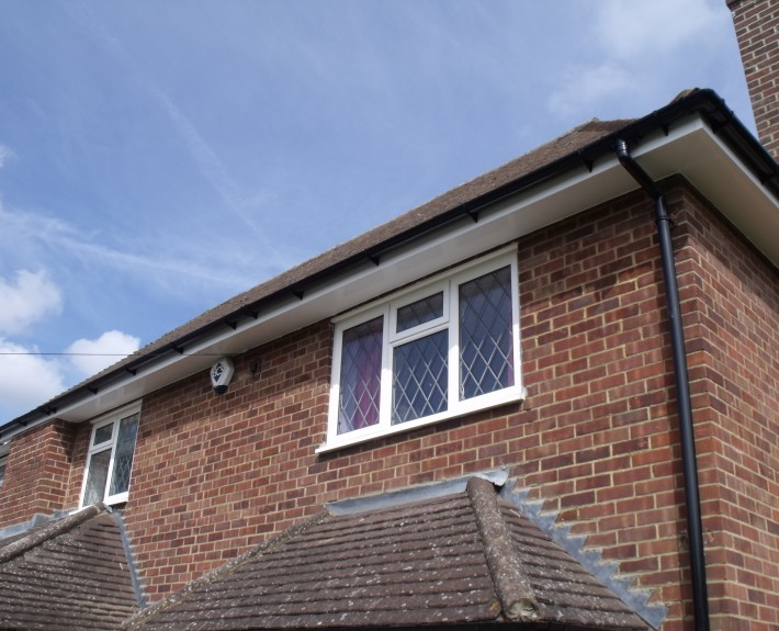 Roofline showing guttering, fascias and soffits
