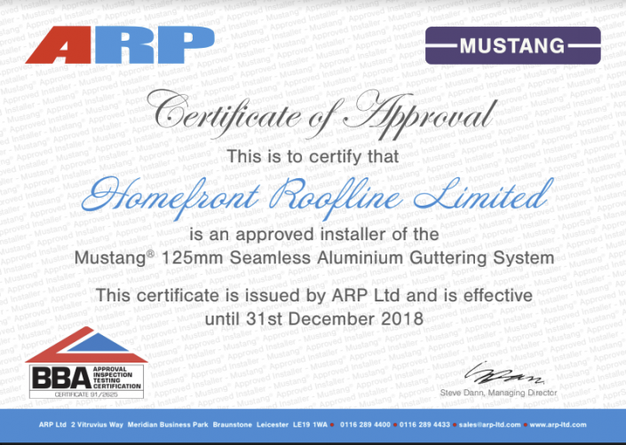 ARP Guttering Certificate of Approval